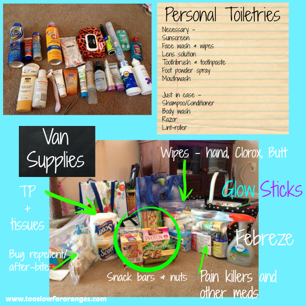 Toiletries and van supplies